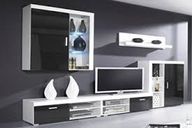 home innovation glanzlack wohnwand wohnzimmer wohnzimmerschrank anbauwand esszimmer mit leds schwarz lackiert und weiß mate maße 290 x 200 x