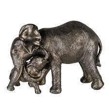 figur elefant mit babyelefant grau gold wohnzimmer dekoration afrikanisch 21x29 cm fiedlers deko und garten