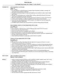 Housekeeping Manager Resume Samples Velvet Jobs Hospital Skills S