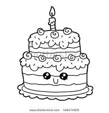 birthday cake for coloring vector illustration of cute cartoon birthday cake character for children coloring page