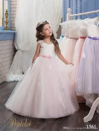 2017 vintage flower girls dresses pentelei with bow and sweep