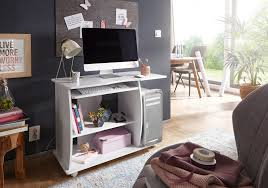 finebuy computertisch david rollbar weiß 90 x 71 x 50 cm mit tastaturauszug laptop tisch auf feststellbaren rollen pc tisch mit drucker ablage