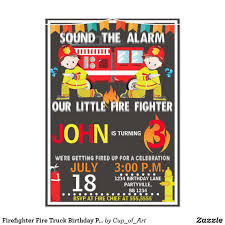 Firefighter Fire Truck Birthday Party Invitation In 2018 | Kids 2-12 ...