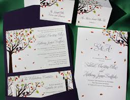 Love Birds In A Fall Tree Purple Pocketfold Wedding Invitations Programs Escort Cards
