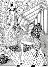 Giraffe Coloring Page Zentangle Pages Printable Instant Download Animal