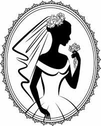 Bride Silhouette Vector Line Drawing