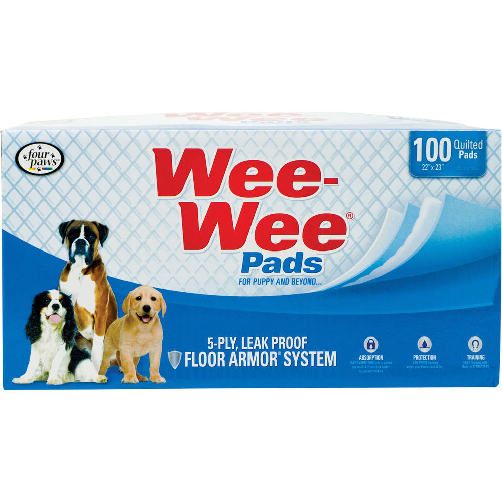 Four Paws Wee-Wee Puppy Dog Pads - 100 Pack