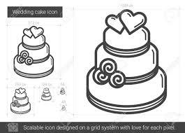 Wedding cake vector line icon isolated on white background Wedding cake line icon for infographic