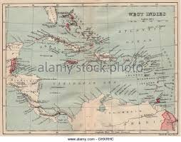 BRITISH WEST INDIES Showing British Islands Colonies Caribbean 1914 Old Map