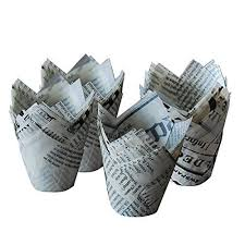 Ieasysexy White Newspaper Tulip Standard Cupcake Liners Wrappers2 Diameter X22 Height100pcs More Info Could Be Found At The Image Url