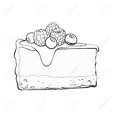 black and white hand drawn piece of cheesecake decorated with fresh berries sketch style vector