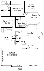 Craftsman Style Floor Plans Bungalow by Craftsman Style House Plan 3 Beds 2 Baths 1442 Sq Ft Plan 84
