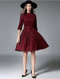50s Retro Style Plaid Swing Dress