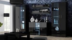 wohnzimmer mit blauer led beleuchtung schwarz schwarz