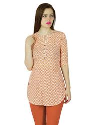 bimba women short cotton tunic orange kurta kurti 3 4 sleeve