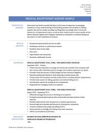 Medical Receptionist Resume Samples Templates And Tips Receptionist Resume Examples Skills Job Description Tips Sample Pdf Valid Cover Letter For Template Where To Print Front Desk Archaicawful Medical Samples For And Free Forical Reference Velvet Jobs