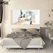 kreative grün pflanzen floral aufkleber bett kopfteil wand aufkleber frische blumen vergossen wand abziehbilder warme schlafzimmer schlafsaal decor