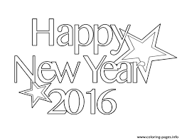 2016 Happy New Year Coloring Page Pages