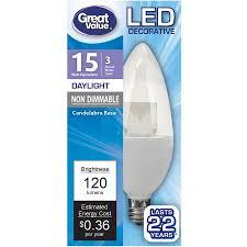 great value led decorative candelabra base light bulb 3w 15w