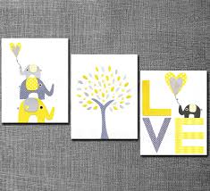 Tree Wall Decor Baby Nursery by Yellow And Grey Nursery Art Print Set 5x7 Kids Room Decor