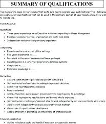 Summary Of A Resume Examples For Resumes Qualifications Template Sample