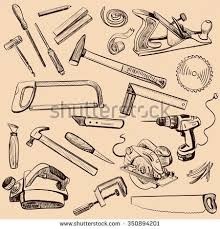 Joinery Icons Set Carpenter Character At Work Woodworking Tools Of Antique Craft Woodwork Screwdriver Table Hamme