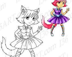50 OFF Girl Clipart Cat Digital Stamp Coloring