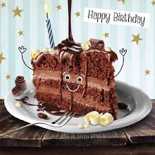 Image is loading Funny Chocolate Cake Birthday Card 3D Goggly Moving