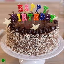 Chocolate Walnut Cake n Happy Birthday Candle Cakes Delivery Jaipur Rajasthan