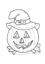 Halloween Day Smiling Jack O Lantern With Witch Hat On Coloring Page