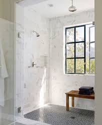 white shower tile flooring ideas