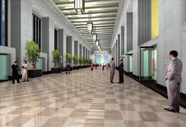 Rendering of the renovated lobby at the Old Post fice Gensler