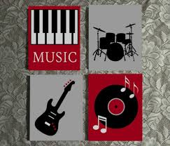 Music Themed Wall Art Painted Canvas