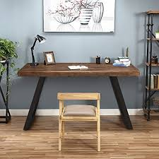 Tribesigns 55 Solid Wood Computer Desk Rustic Desks With Heavy Duty Metal Base