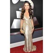 Evening Dresses Red Carpet by Gomez Champagne V Neck Evening Dress 2011 Grammy Award Red Carpet