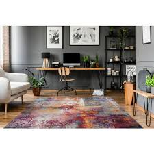 ornamente schnörkel teppich modern bunt künstler creme lila blau gelb 80cm x 150cm