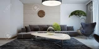 vorstellung zeitgenössischer wohnzimmer kombinierte wanddekoration wohnzimmer mit dunklen möbeln und hellen holztisch 3d übertragen