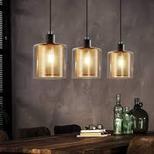 zmh pendelleuchte e14 gold esstisch pendelle 3 flammige hängeleuchte mit doppeltem schirm aus glas und metall höhenverstellbar wohnzimmerle