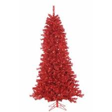 Curly Tinsel 75 Red Artificial Christmas Tree With 550 Lights Stand