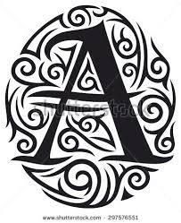 Letter A Tattoo Tribal Design