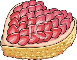 Strawberry Topped Cake in the Shape of a Heart Royalty Free Clipart Picture