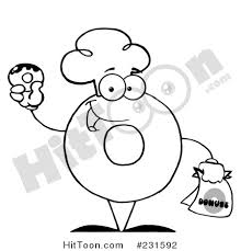 Coloring Page Outline Of A Donut Character Wearing Chef Hat And Holding 231592