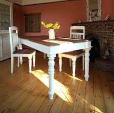 Chalk Paint Dining Table Rustic Old Long Trestle Painted With White Color Made From Reclaimed Wood