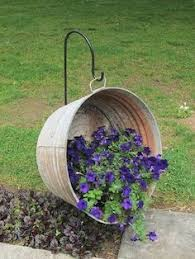 Old Washtub As Hanging Planter I Put One In The Front Yard Today
