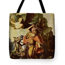 Rembrandt Van Rijn Tote Bag Featuring The Painting Balaam And Ass By