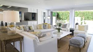 InteriorInteresting Coastal Living Room Design Ideas Added Blue Sectional Sofa And Tufted Ottoman Plus