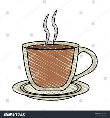 Color Crayon Stripe Cartoon Transparent Cup Of Coffee With Steam On Dish