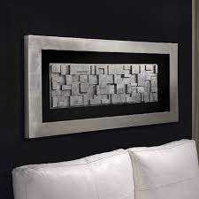 Rectangle Silver Leafed 3d Blocked Framed Box Wall Art Large