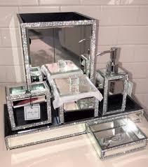 Bella Lux Mirror Rhinestone Bathroom Accessories by 6pc Bella Lux Mirror Crystal Rhinestone Luxury Bathroom Accessory Set