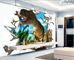 3d Wallpaper Custom Mural Non Woven Room 3 D Dinosaur Broken Wall Paintings Murals Photo In Wallpapers From Home